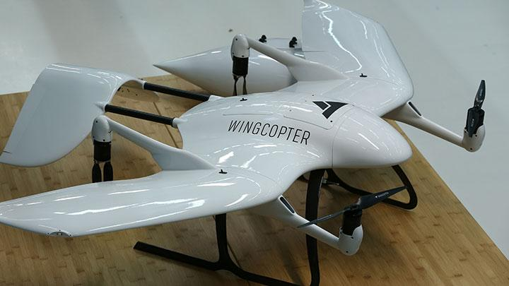 A drone of German start-up company Wingcopter, designed for distribution of medical products, as well as COVID-19 vaccines, is pictured as the spread of COVID-19 continues, in Weiterstadt near Darmstadt, Germany, February 2, 2021. The company, based in Weiterstadt, is working on a number of trial projects for countries in Africa and Southeast Asia, aiming to scale up operations to deliver vaccines to millions of people REUTERS/Ralph Orlowski