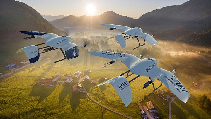 A rendered image of drones made by German start-up Wingcopter over Bavaria, Germany, in this handout obtained on January 25, 2021. erman start-up Wingcopter has secured fresh funding to strengthen its position in the race to offer COVID-19 vaccine distribution by air, seeking to get shots into the arms of people in hard-to-reach places, it said on Monday. Wingcopter/Handout via REUTERS