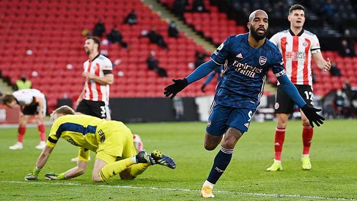 Arsenal's Alexandre Lacazette celebrates scoring their first goal during the match Premier League between Sheffield United vs Arsenal at Bramall Lane, Sheffield, April 11, 2021. Pool via REUTERS/Laurence Griffiths